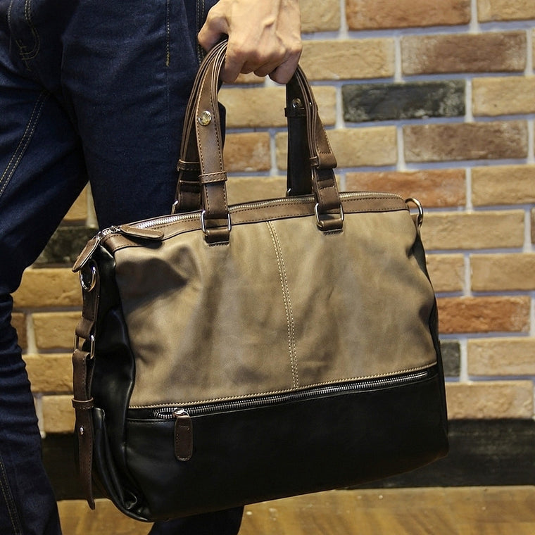 Fashion Men's Soft pu leather handbag leisure Travel Case Duffel Shoulder bag Laptop Hand bag Multifunction messenger bag
