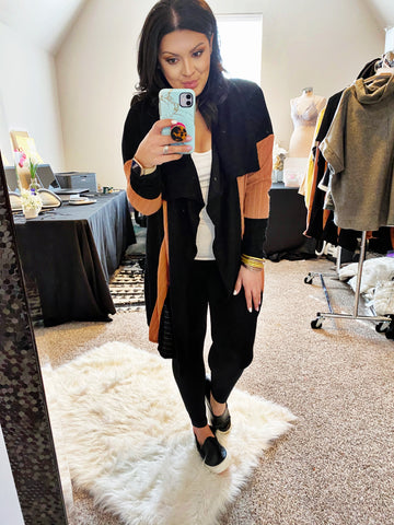 The Color Block Draped Cardigan