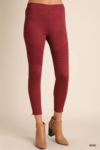 The Moto Jeggings- Wine