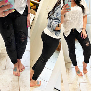 Distressed Black Denim Skinnies