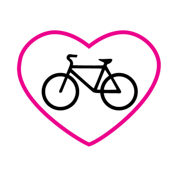 Bike in Pink Heart Outline