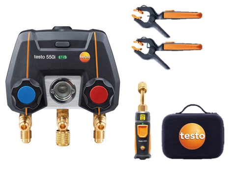 Testo 550i Smart Kit - App-controlled digital manifold with wireless vacuum and wireless clamp temperature probes
