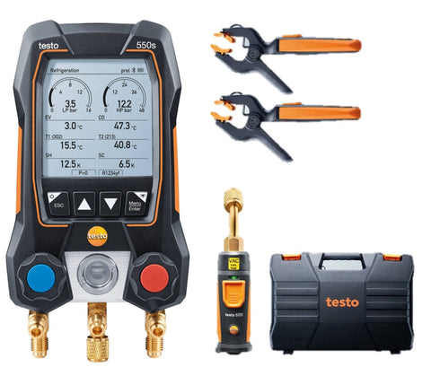 Testo 550s Smart Vacuum Kit - Smart digital manifold with wireless clamp temperature probes and wireless vacuum probe
