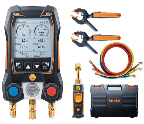Testo 550s Smart Vacuum Kit with Hoses - Smart digital manifold with wireless vacuum probe, wireless clamp temperature probes, and 3 hoses