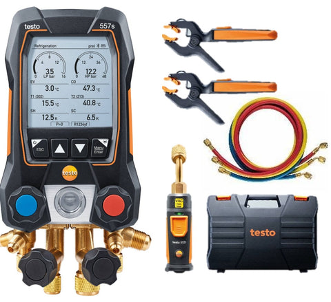 Testo 557s Smart Vacuum Kit with Hoses - Smart digital manifold with wireless vacuum and clamp temperature probes and 4 hoses set