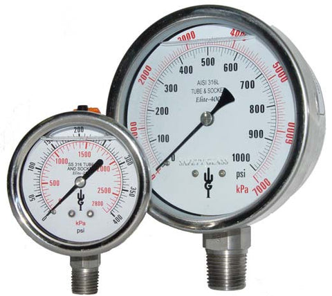 "Elite 250 Series 2 1/2"" Stainless Steel Pressure Gauges"