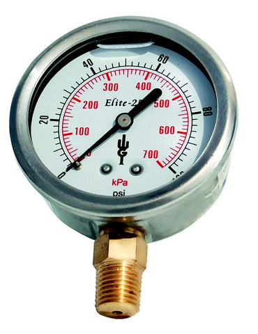 Elite 250 Series Brass Pressure Gauge
