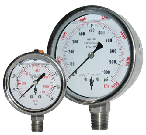 "Elite 400 Series 4"" Stainless Steel Pressure Gauges (QTY: 5)"