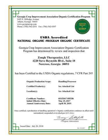 USDA Accredited-National Organic Program Organic Certificate-Zongle Therapeutics