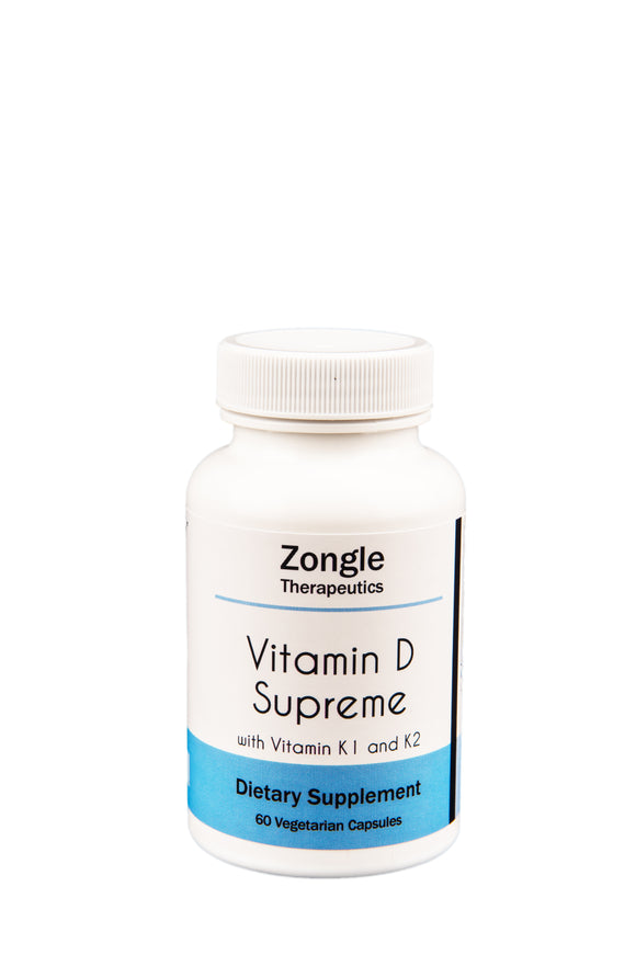 Zongle Therapeutics - Vitamin D Supreme with K1 and K2 - 60 Vegetarian Caps - D3 5000 IU - Vitamin K 550 mcg