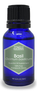 Zongle Basil Essential Oil, India, Safe To Ingest, 15 mL
