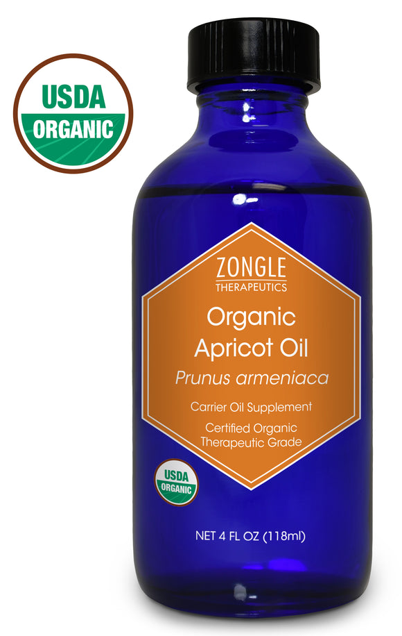 Zongle USDA Certified Organic Apricot Oil, Safe To Ingest, Prunus Armeniaca, 4 oz