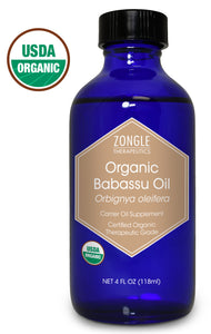 Zongle USDA Certified Organic Babassu Oil, Safe To Ingest, Orbignya Oleifera, 4 oz
