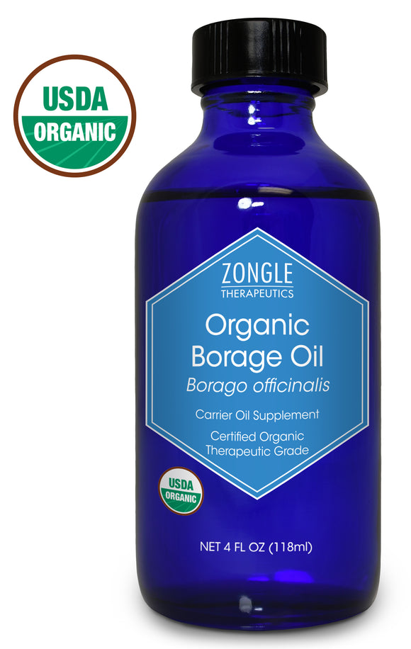 Zongle USDA Certified Organic Borage Oil, Safe To Ingest, Cold Pressed, Borago Officinalis, 4 oz