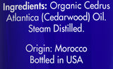Zongle USDA Certified Organic Cedarwood Essential Oil - Ingredients
