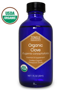 Zongle USDA Certified Organic Clove Essential Oil, Safe To Ingest, Eugenia Caryophyllata, 1 oz