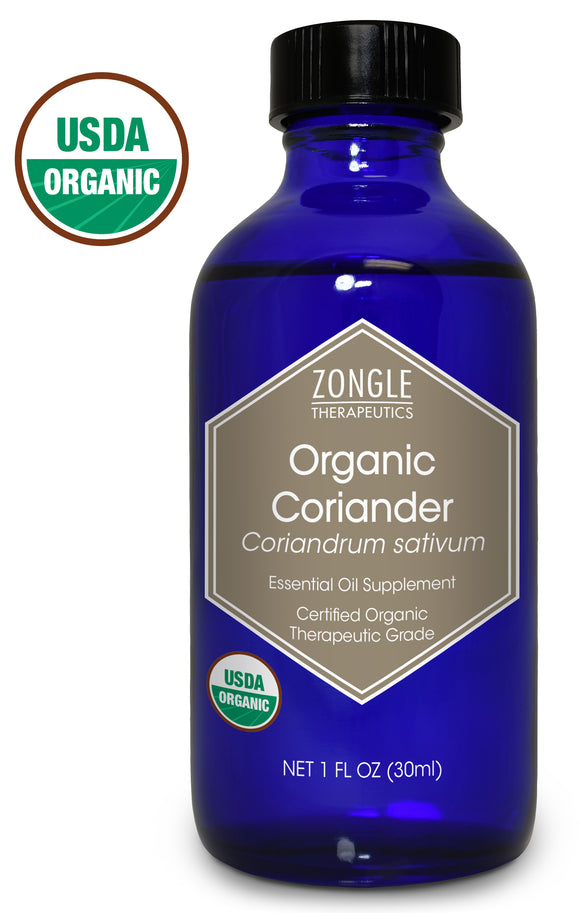 Zongle USDA Certified Organic Coriander Essential Oil, Safe To Ingest, Coriandrum Sativum, 1 oz