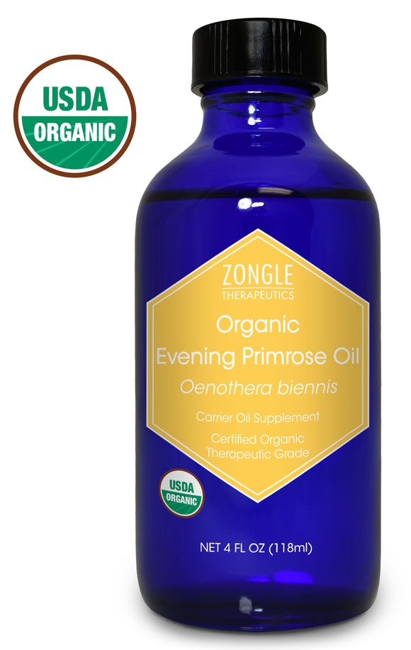 Zongle USDA Certified Organic Evening Primrose Oil, Safe To Ingest, Unrefined Virgin, Cold Pressed, Oenothera Biennis, 4 oz