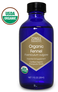 Zongle USDA Certified Organic Fennel Essential Oil, Safe To Ingest, Foeniculum Vulgare, 1 oz