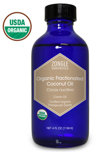 Zongle USDA Certified Organic Fractionated Coconut Oil, Cocos Nucifera, 4 Oz