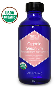 Zongle USDA Certified Organic Geranium Essential Oil, Safe To Ingest, Pelargonium Graveolens, 1 oz