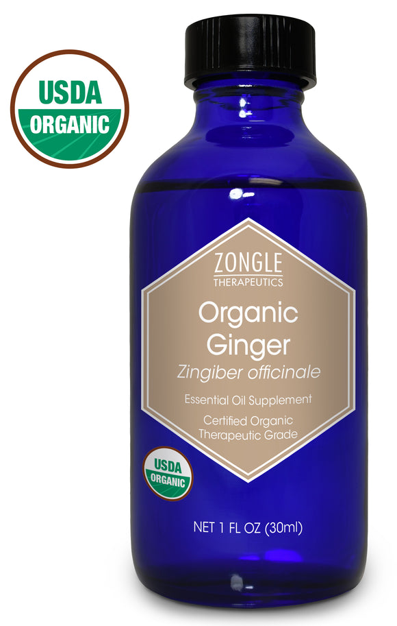 Zongle USDA Certified Organic Ginger Essential Oil, Safe To Ingest, Zingiber Officinale, 1 oz