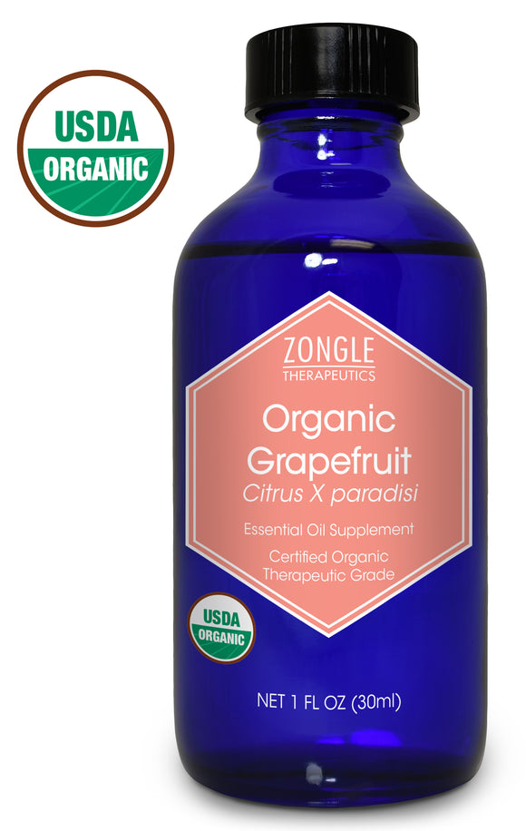 Zongle USDA Certified Organic Grapefruit Essential Oil, USA, Safe To Ingest, Citrus X Paradisi, 1 oz
