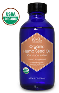 Zongle USDA Certified Organic Hemp Seed Oil, Safe To Ingest, Unrefined Virgin, Cold Pressed, 4 oz