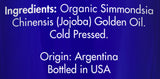 Zongle USDA Certified Organic Jojoba Oil - Ingredients