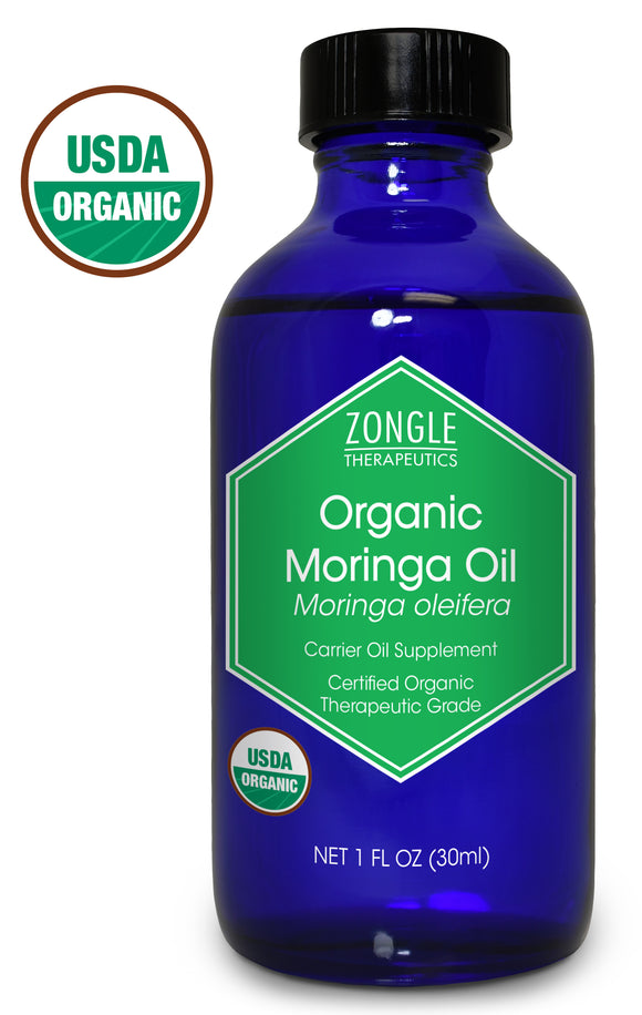 Zongle USDA Certified Organic Moringa Oil, Safe To Ingest, Unrefined Virgin, Cold Pressed, Moringa Oleifera, 1 oz