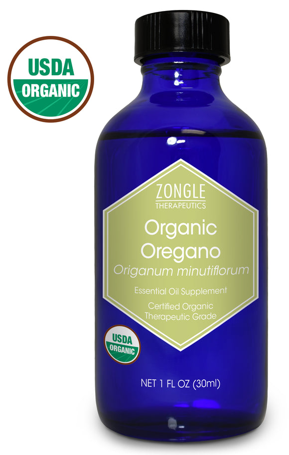 Zongle USDA Certified Organic Oregano Essential Oil, Safe To Ingest, Origanum Minutiflorum, 1 oz