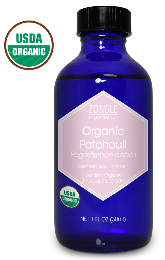 Zongle USDA Certified Organic Patchouli Essential Oil, Safe To Ingest, Pogostemon Cablin, 1 oz