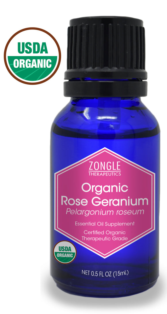 Zongle USDA Certified Organic Rose Geranium Oil, Safe To Ingest, Pelargonium Roseum, 15 mL