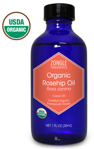 Zongle USDA Certified Organic Rosehip Oil, Rosa Canina, Cold Pressed, 1 oz