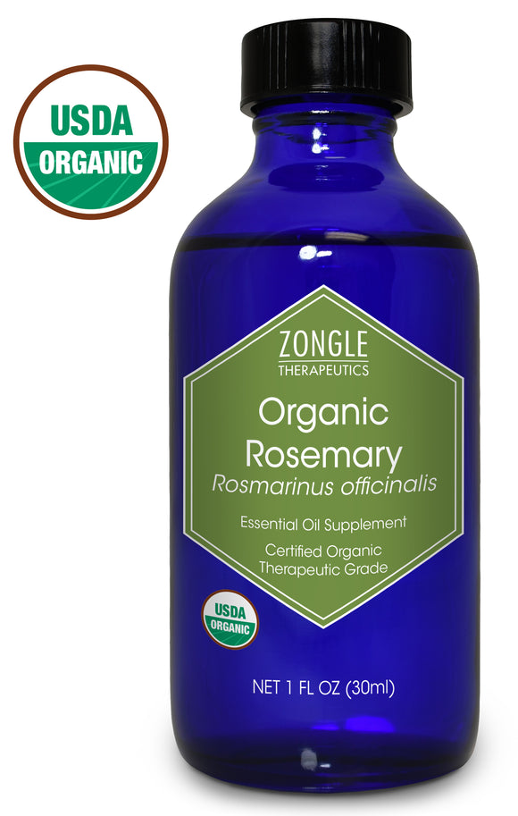 Zongle USDA Certified Organic Rosemary Essential Oil, Safe To Ingest, Rosmarinus Officinalis, 1 oz