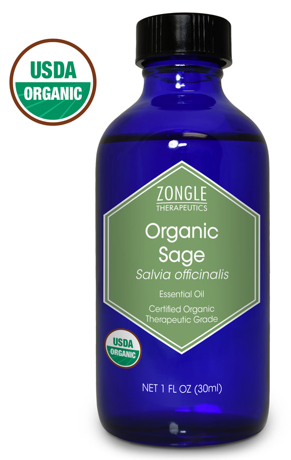 Zongle USDA Certified Organic Sage Essential Oil, Spain, Salvia Officinalis, 1 oz