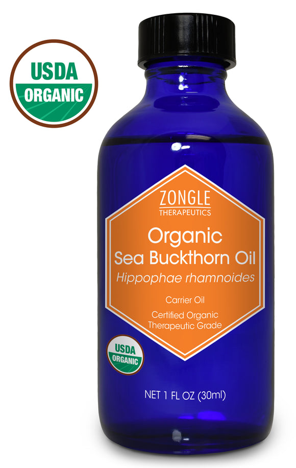 Zongle USDA Certified Organic Sea Buckthorn Oil, Unrefined Virgin, Cold Pressed, Hippophae Rhamnoides, 1 oz