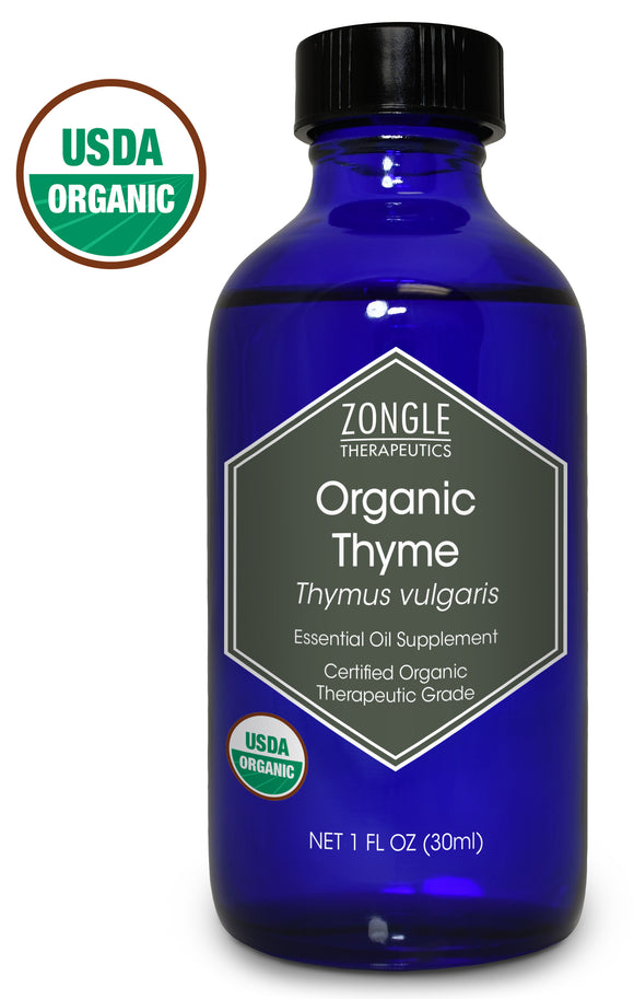 Zongle USDA Certified Organic Thyme Essential Oil, Safe To Ingest, Thymus Vulgaris, 1 oz