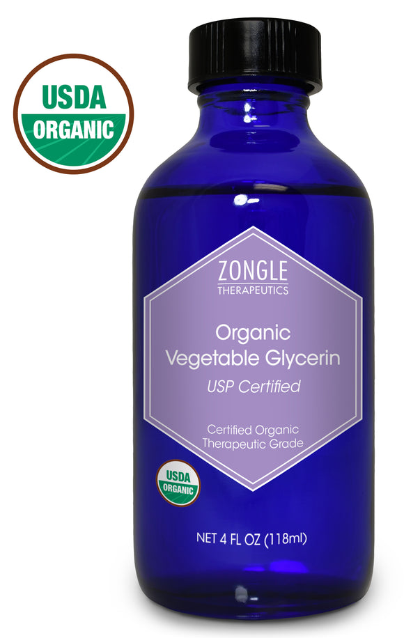 Zongle USDA Certified Organic Vegetable Glycerin, Safe To Ingest, USP Certified, 4 Oz
