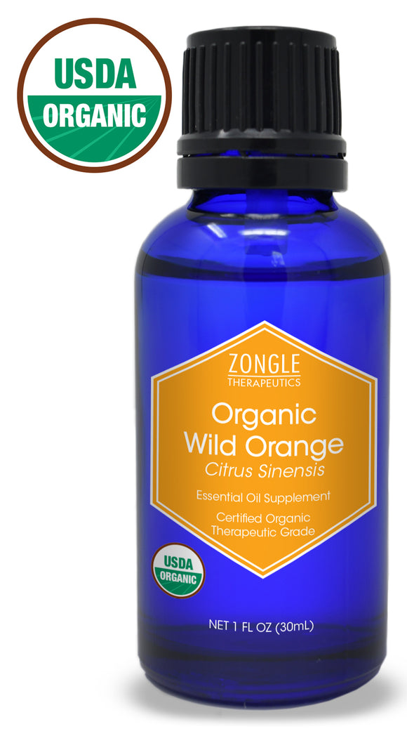 Zongle USDA Certified Organic Wild Orange Essential Oil, Safe To Ingest, Citrus Sinensis, 1 Oz