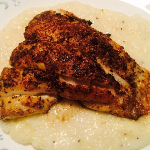 blackened snapper with grits