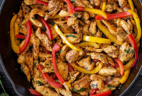Chicken Fajita bowl. Fully cooked dinners delivered to home.