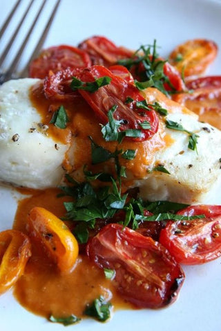 Low Carb Cod Fillet W/ Tomato Cream Sauce