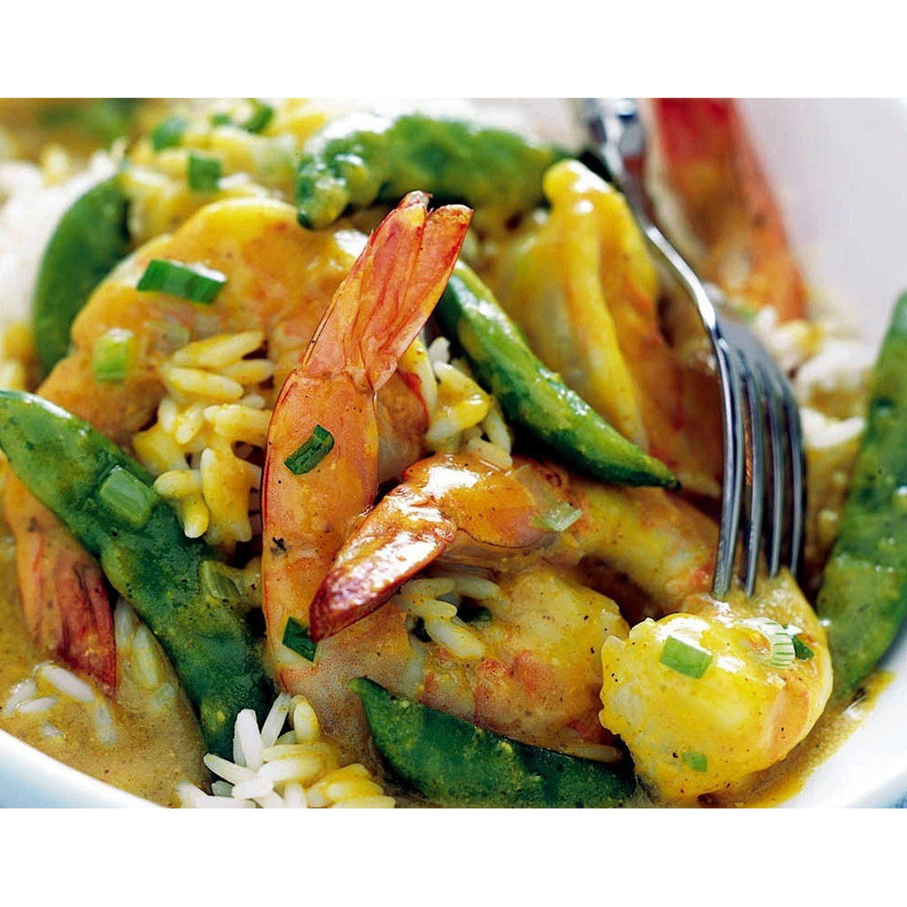 Shrimp and Sugar Snap Peas in Curried Cream Sauce