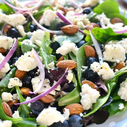 spring mix and blueberry salad