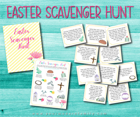 Easter Scavenger Hunt & Scripture Card Set (printable)