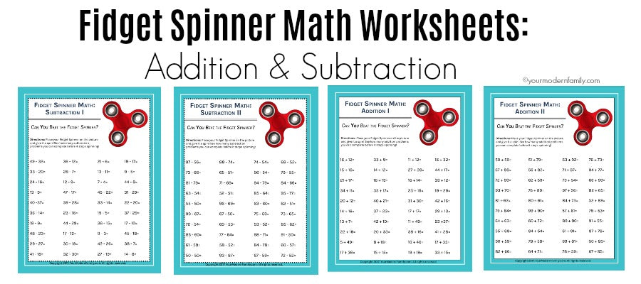 Fidget Spinner Math Practice Sheets: Addition & Subtraction (4 ...