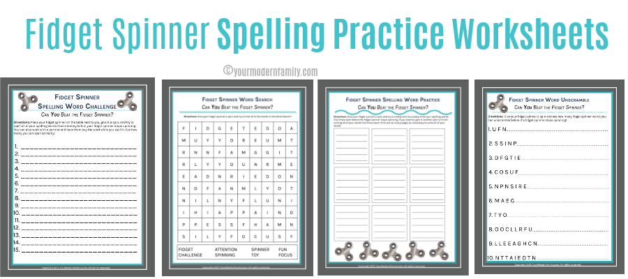 Fidget Spinner Spelling Word Practice Sheets 5 SHEETS Your – Spelling Word Practice Worksheets