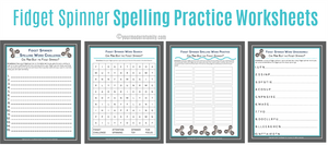 Fidget Spinner Spelling Word Practice Sheets (5 SHEETS)