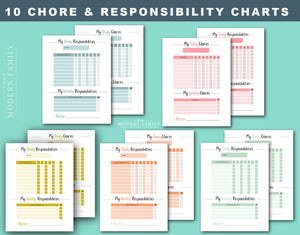 Daily & Weekly Responsibility Chore Chart for Kids (10 Varieties included!)